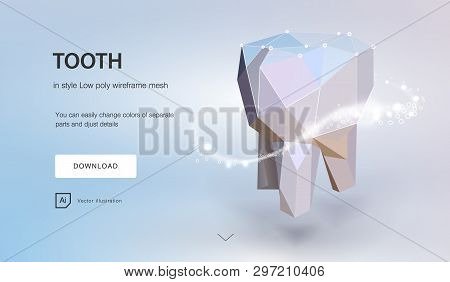 Tooth. Tooth Dental  3d Low Poly Geometric Model. Dentistry Innovation Future Technology Titan Metal