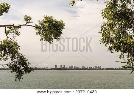 Darwin Australia - February 22, 2019: Darwin Skyline Seen From East Point Over Fannie Bay Sea Water