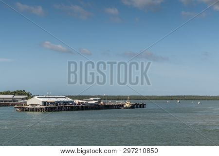 Darwin Australia - February 22, 2019: Stokes Hill Wharf Seen From Harbour Waters Under Blue Sky. Gre