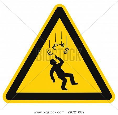 Danger Falling Currencies Warning Sign Isolated Macro