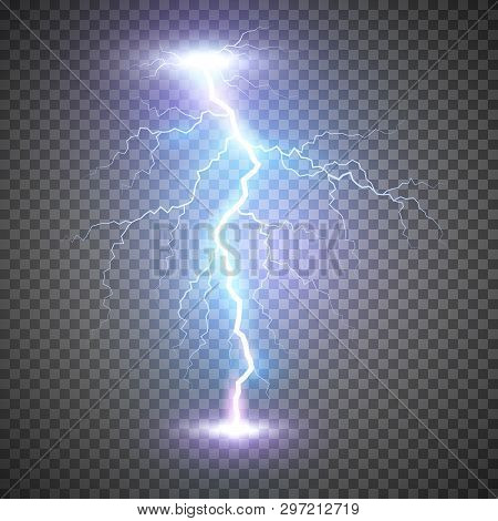 Lightning Flash Bolt Or Thunderbolt. Blue Lightning Or Magic Power Blast Storm. Vector Illustration