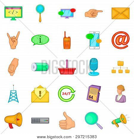 Widespread Globalization Icons Set. Cartoon Set Of 25 Widespread Globalization Icons For Web Isolate
