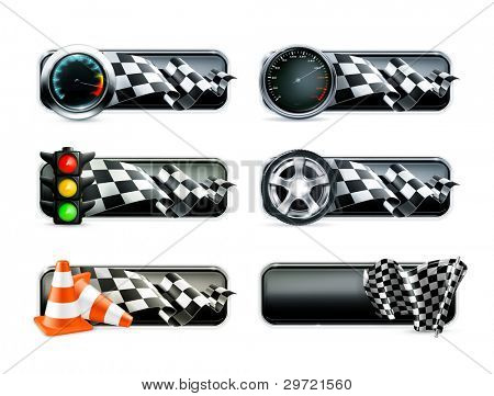Racing banners set, vector