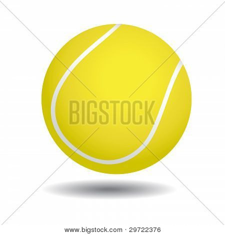 realistic illustration of yellow tennis ball, isolated on white poster