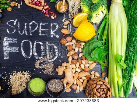 Super Food Selection. Various Super Foods And Healthy Foods