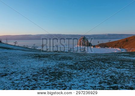 Cape Burkhan On Olkhon Island In Winter That Water In The Lake To Be Ice At Baikal Lake In Siberia,