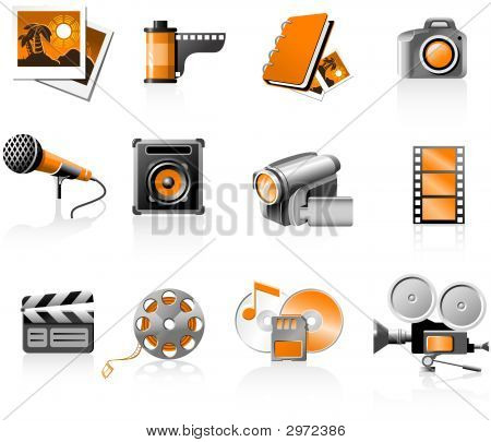 Multimedia icons set - photo and video poster