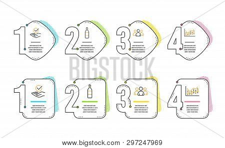 Group, Wine Bottle And Approved Icons Simple Set. Financial Diagram Sign. Group Of Users, Cabernet S