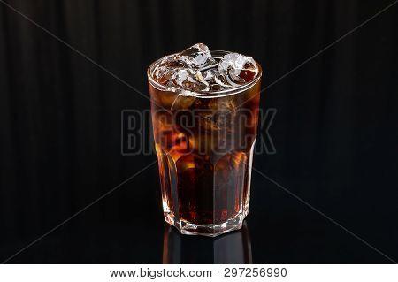 Cola. Coke Glass On Black Background. Whiski With Cola