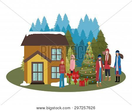 Women With Christmas Tree Outside The House Vector Illustration Desing