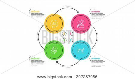 Creative Idea, Update Data And Jazz Icons Simple Set. Infographic Timeline. Stock Analysis Sign. Pre
