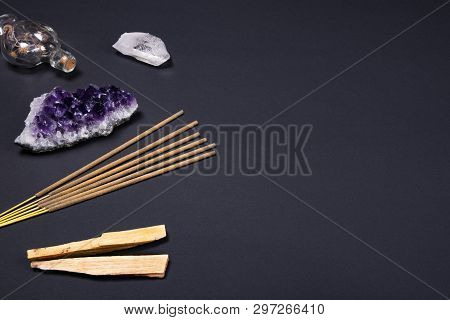 Composition Of Esoteric Objects Used For Healing, Meditation, Relaxation And Purifying. Amethyst And