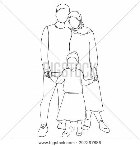 One Continuous Single Drawn Line Art Doodle Outline, Kid, Happy, Woman, Man, People. Isolated Image