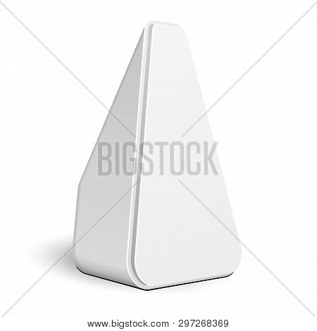 Mockup Stand Banner Stall Bar Display. Triangle Rounded Poi Blank Empty Retail. On White Background