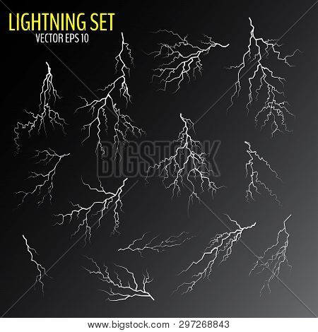 Set Of Different White Cracks Isolated On Dark Background. Set Of Simple Lightning Bolts. Vector Ill