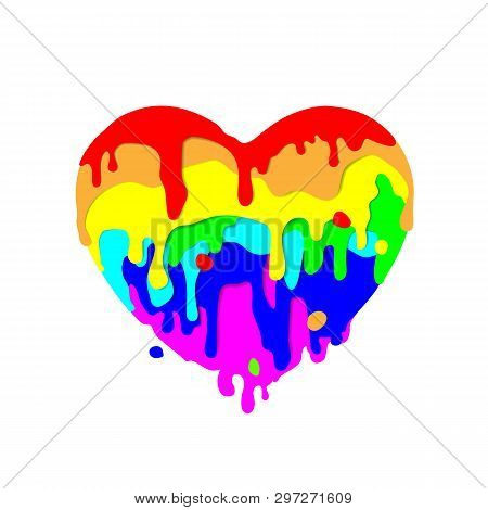Fluid Multicolored Paint Flowing In Shape Heart, Colored Figures On Light Background For Valentines