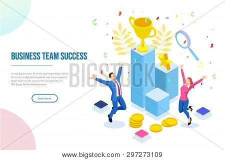 Isometric Business Team Success, Leadership, Awards, Career, Successful Projects, Goal, Winning Plan