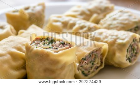 An image of some swabian dumplings with minced meat filling