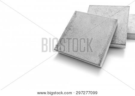 Concrete paving slab in square shape on white background