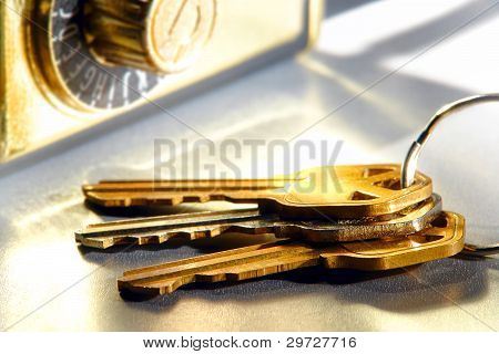 House Keys Set And Real Estate Agent Safe Lock Box