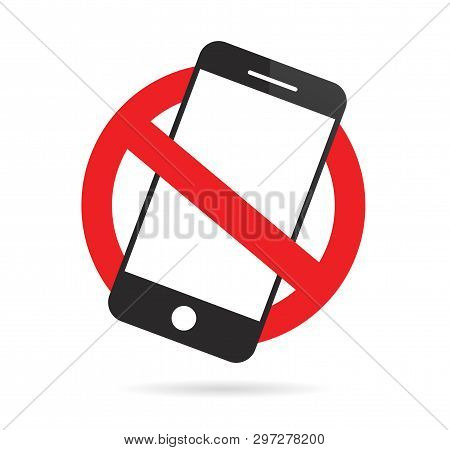No Cell Phone Sign. Mobile Phone Prohibited. Vector Illustration.
