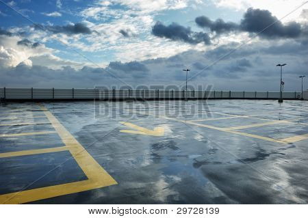 Rainy Rooftop Parking