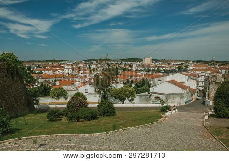 Urban Landscape With Old White Houses Viewed From The Hilltop Of Castle At Estremoz. A Nice Little H