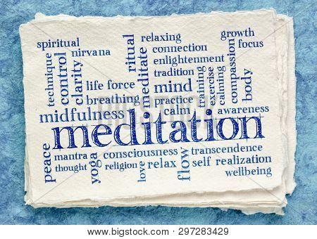 meditation word cloud on textured paper (handmade Khadi rag paper)