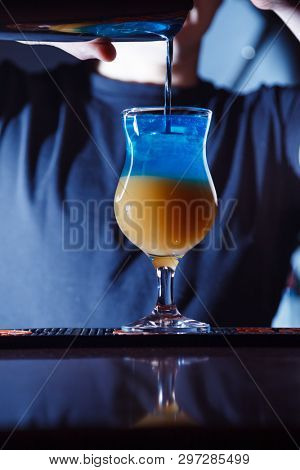 two colored alcohol drink on bar. cocktail