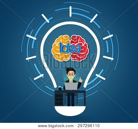 creative idea concept. businessman in workspace sit at the desks with notebook with lightbulb brain icon  decoration over his head one person. leadership. vector illustration poster
