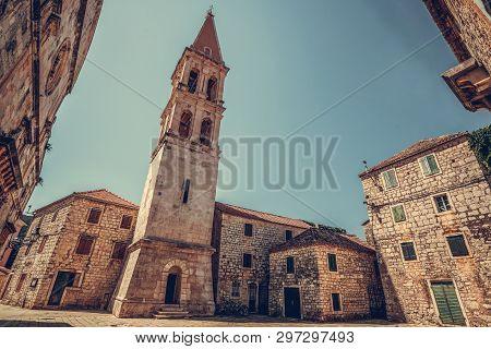 Historic Town Of Stari Grad On Hvar Island In Croatia, Europe. Stari Grad Old Town Is The Top Touris