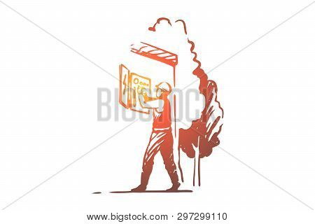 Electrician Repairing Electrical Panel, Dangerous Profession, Handyman In Overalls Standing Outside.