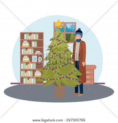 Man With Christmas Tree In Livingroom Vector Illustration Desing