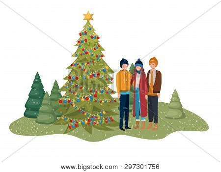 Group Of People With Christmas Tree In Landscape Vector Illustration Desing