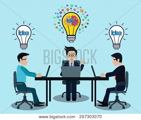 Businessman three in workspace sit at the desks with notebook with light bulb over his head. creative idea. leadership. icon vector illustration poster