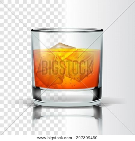 Realistic Glass With Bourbon And Ice Cubes Vector. Whisky Or Bourbon Distilled And Aging In Wooden B