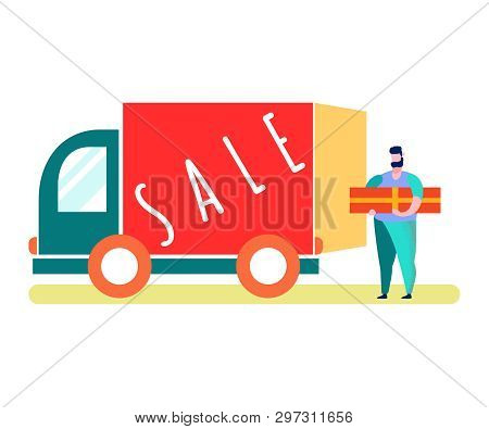 Internet Store Order Delivery Vector Illustration. Van, Truck. Giveaway Winner. Courier Carrying Par