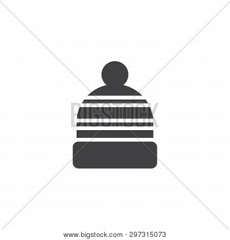 Winter Hat Vector Icon. Filled Flat Sign For Mobile Concept And Web Design. Knitted Hat Cap With Pom
