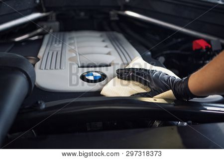Car Repair Car Advertising Car Wash, Bmw Advertising, Moscow, 1.11.2018: Bmw Motor Company Badge In
