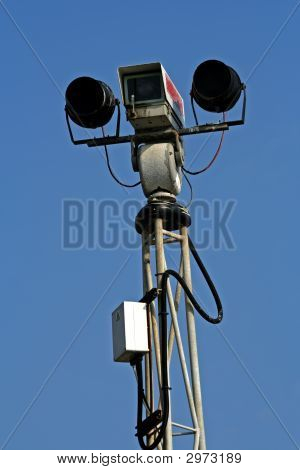 Day And Night Security Camera On Top Of Pole