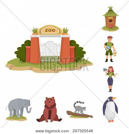 Vector Design Of Zoo  And Park Symbol. Collection Of Zoo  And Animal Vector Icon For Stock.