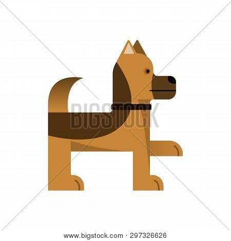 Sheepdog Stand. Purebred Dog Gives A Paw. Vector Illustration. Flat Icon.