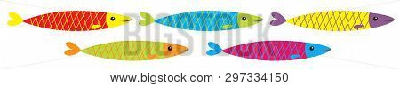 Sardine Colorful Fish Icon Set Line. Iwashi. Sardina Pilchardus. Cute Cartoon Character. Anchovy Pil