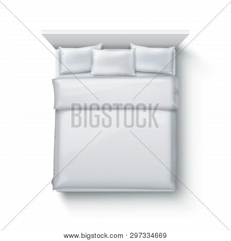Vector Illustration Of Double Bed With Soft Duvet, Bedding And Pillows On White Background