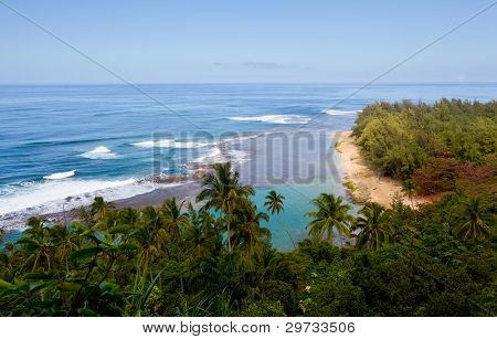 Horizontal image of Kee beach from Kalalau trail on Na Pali coast of Kauai poster