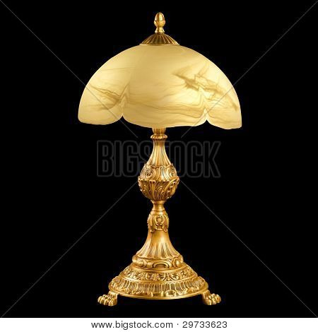 vintage table lamp isolated on black with clipping path