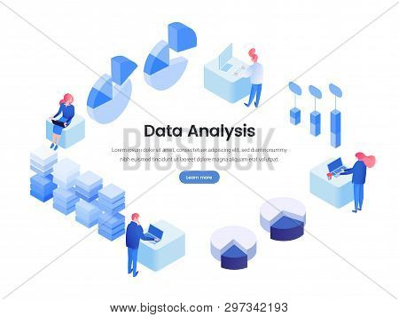 Data, Business Analysis Isometric Landing Page. Smm, Seo, Stock Market Analytics, Metrics, Statistic