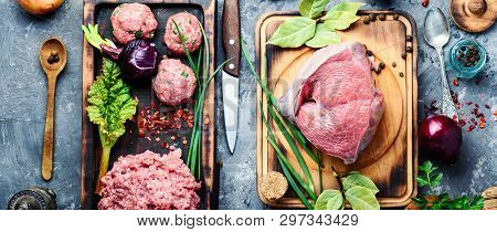 Raw Uncooked Meatballs