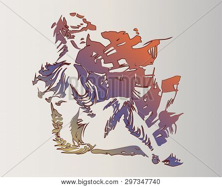 Vector Image Of A Fantastic Amphibian Woman. The Mutant Is Depicted In A Seated Pose. Silhouette Of