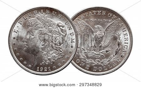 Us Morgan Silver Dollar Coin Minted 1921, Isolated On White Background